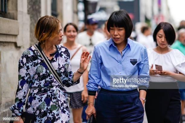 Angelica Cheung Vogue China Editor in Chief wears a blue shirt outside Givenchy during Paris Fashion Week Haute Couture Fall Winter 2018/2019 on July...