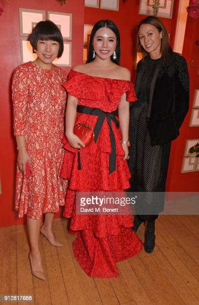 Angelica Cheung Wendy Yu and Caroline Rush attend Wendy Yu's Chinese New Year Celebration at Kensington Palace on January 31 2018 in London United...