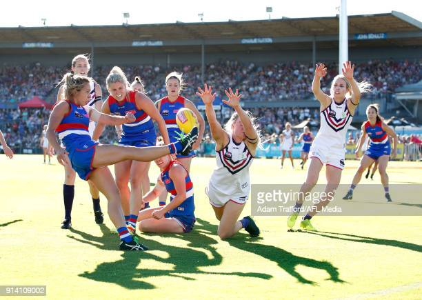 Angelica Gogos of the Bulldogs kicks the ball during the 2018 AFLW Round 01 match between the Western Bulldogs and the Fremantle Dockers at VU...