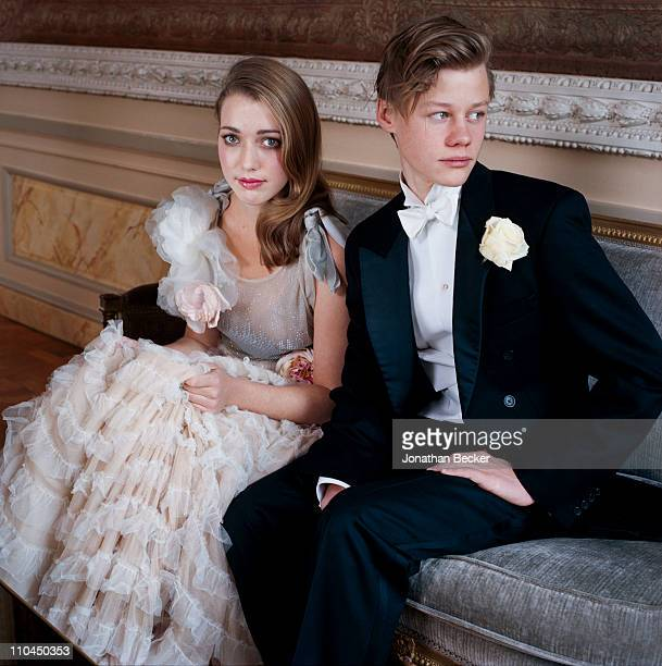 Angelica Hicks and Honorable William Pelham are photographed at the Hotel Crillon for Tatler Magazine on November 28, 2009 in Paris, France....