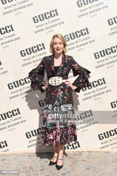 Angelica Hicks arrives at the Gucci show during Milan Fashion Week Spring/Summer 2018 on September 20 2017 in Milan Italy