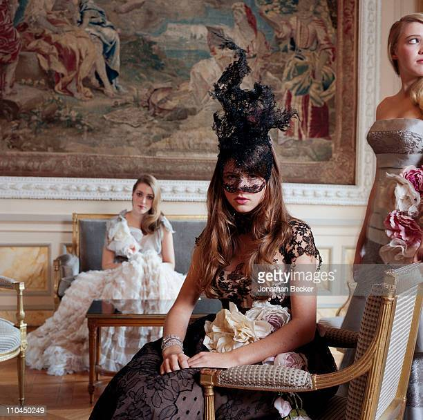 Angelica Hicks, Carinthia Pearson and Georgina Robertson are photographed at the Hotel Crillon for Tatler Magazine on November 28, 2009 in Paris,...