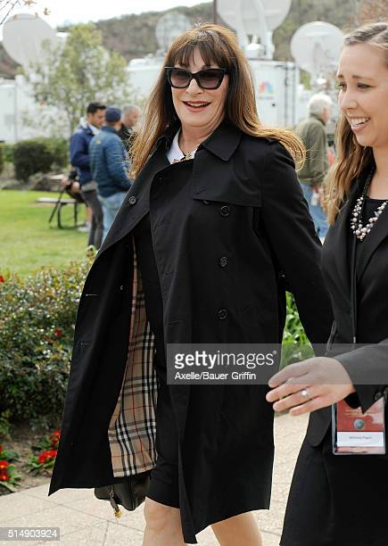 Angelica Huston is seen arriving to Nancy Reagan's funeral services at the Ronald Reagan Presidential Library on March 11 2016 in Simi Valley...