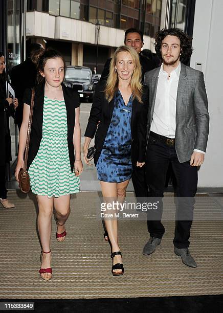 Angelica Jopling Sam Taylor Wood and Aaron Johnson attend a private viewing of 'A Life In Photographs An Exhibition of Photography by Linda...