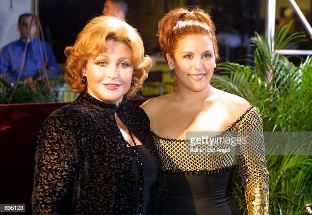 Angelica Maria and Angelica Vale attends the first Lo Nuestro awards hosted by Univision Spanishlanguage television on February 7 2002 in Miami FL