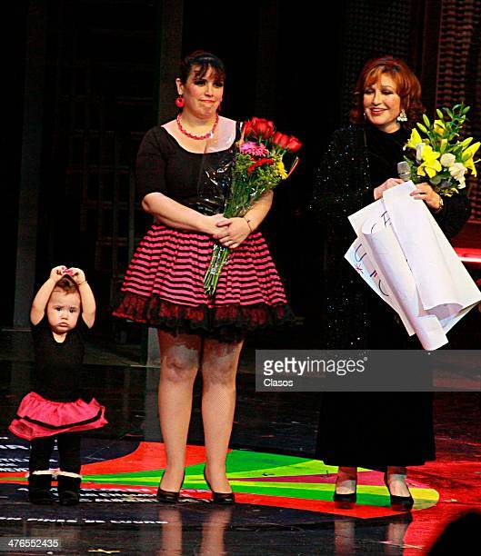 Angelica Maria her daughter Angelica Vale and granddaughter Angelica Maciel during a tribute to Angelica Maria on the play Mentiras at theatre...