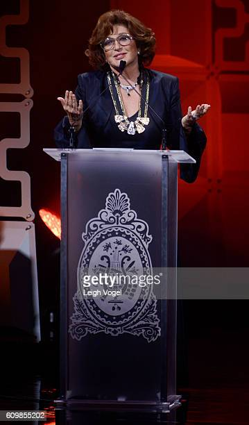 Angelica Maria receives a Legend Award during the 29th Hispanic Heritage Awards at the Warner Theatre on September 22 2016 in Washington DC