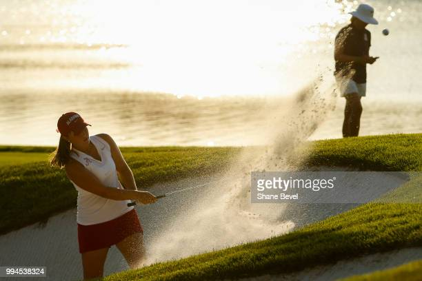 Angelica Moresco of Alabama hits a shot from a bunker on the18th hole during the Division I Women's Golf Team Match Play Championship held at the...