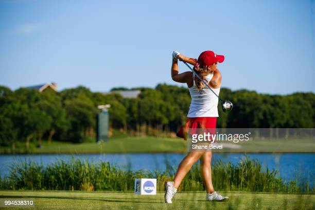Angelica Moresco of Alabama tees off on the 17th during the Division I Women's Golf Team Match Play Championship held at the Karsten Creek Golf Club...