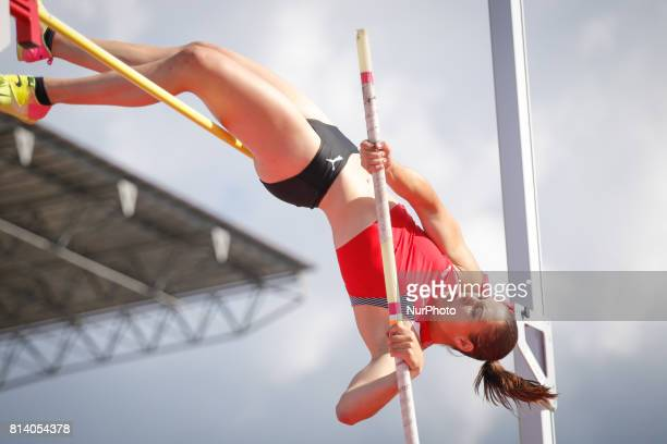 Angelica Moser from Switzerland competes in women's pole vault qualification round during the IAAF World U20 Championships at the Zawisza Stadium on...