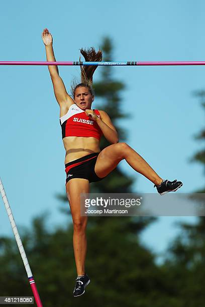 Angelica Moser of Switzerland competes during Women's Pole Vault final at Ekangen Arena on July 18 2015 in Eskilstuna Sweden
