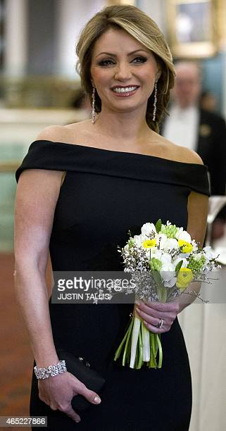 Angelica Rivera wife of Mexican President Enrique Pena Nieto attends a banquet at the Guildhall in central London on March 4 2015 AFP PHOTO / JUSTIN...