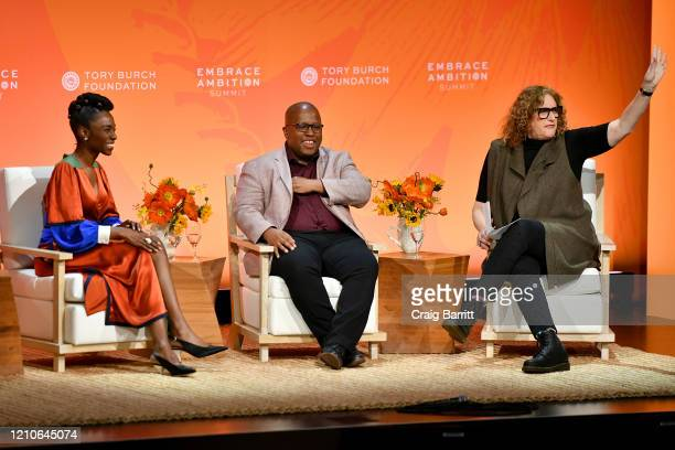 Angelica Ross Actor Activist Michael R Jackson Playwright Composer Lyricist and Judy Gold Comedian Actor Writer Author speak onstage during the 2020...