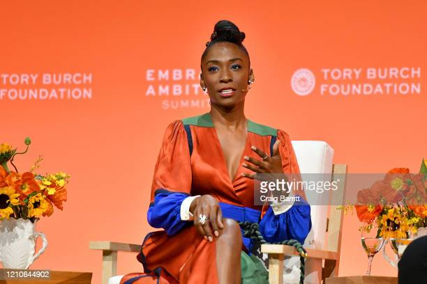Angelica Ross Actor and Activist speaks onstage during the 2020 Embrace Ambition Summit by the Tory Burch Foundation at Jazz at Lincoln Center on...
