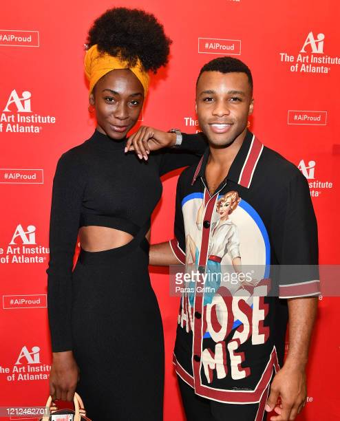 Angelica Ross and Dyllón Burnside attend The Art Institute of Atlanta 2020 Fashion Premiere Show at The Art Institute of Atlanta on March 14 2020 in...
