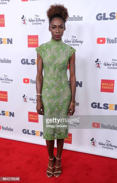 Angelica Ross arrives at the 2017 GLSEN Respect Awards at the Beverly Wilshire Four Seasons Hotel on October 20 2017 in Beverly Hills California