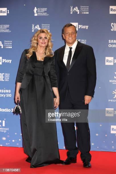 Angelica Russo and Gabriele Muccino attend the 64 David Di Donatello awards on March 27 2019 in Rome Italy