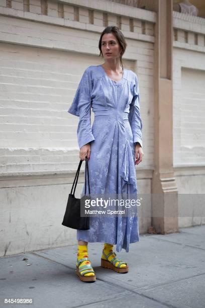 Angelica Sable is seen attending Mansur Gavriel during New York Fashion Week wearing Loewe on September 10 2017 in New York City