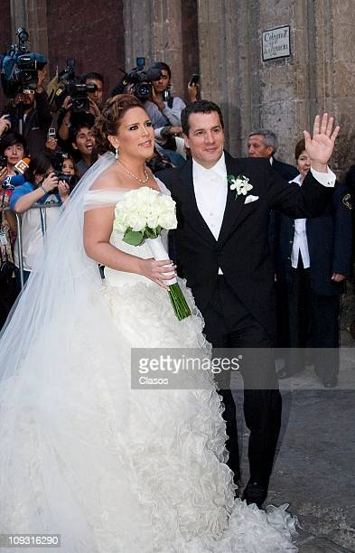 Angelica Vale and Otto Padron get married at Colegio de Las Vizcainas on February 19 2011 in Mexico City Mexico