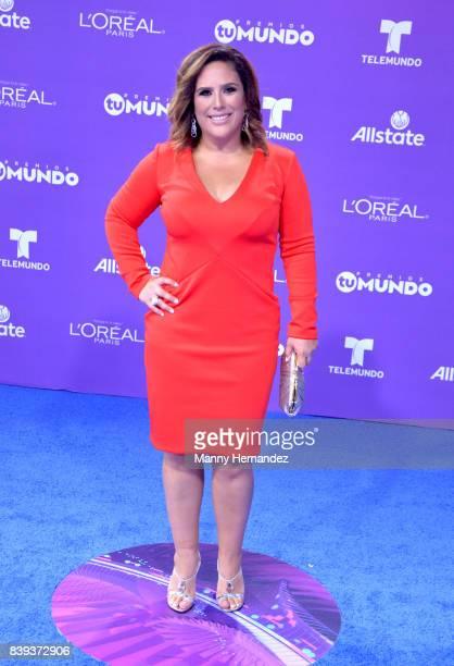 Angelica Vale arrives at Telemundo's 2017 'Premios Tu Mundo' at American Airlines Arena on August 24 2017 in Miami Florida