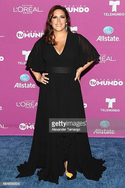 Angelica Vale arrives at Telemundo's Premios Tu Mundo Awards at American Airlines Arena on August 20 2015 in Miami Florida