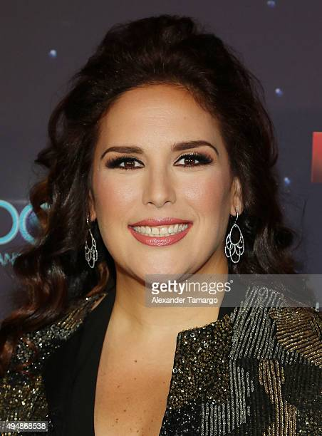 Angelica Vale arrives at the special screening of 'Que Noche With Angelica And Raul' at Imagina Studios on October 29 2015 in Miami Florida
