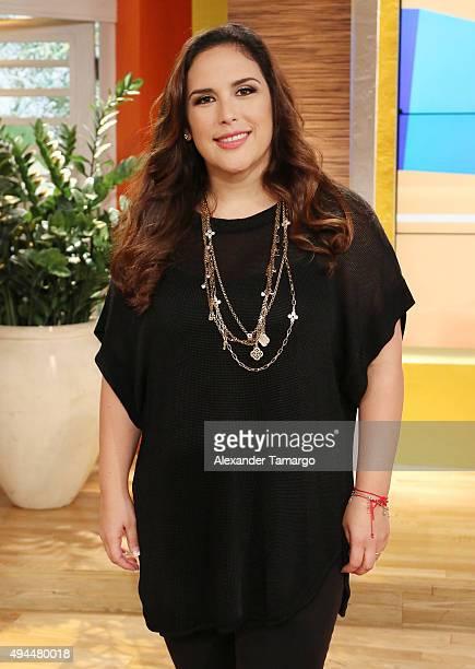 Angelica Vale is seen on the set of 'Un Nuevo Dia' at Telemundo Studios on October 27 2015 in Miami Florida