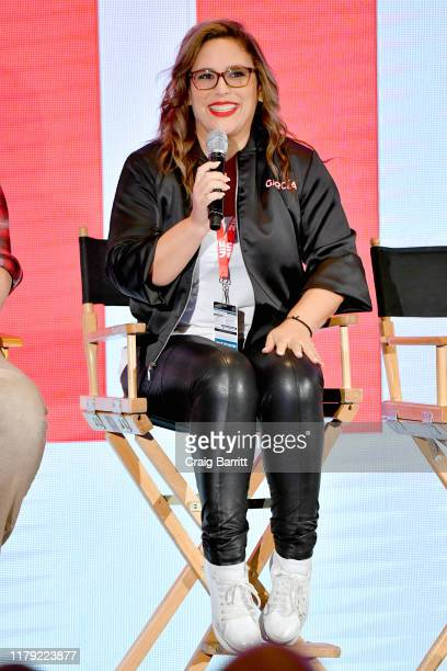 Angelica Vale speaks during Exclusive Screening and QA Netflix Original Animated Series Seis Manos at New York Comic Con 2019 Day 3 at Jacob K Javits...