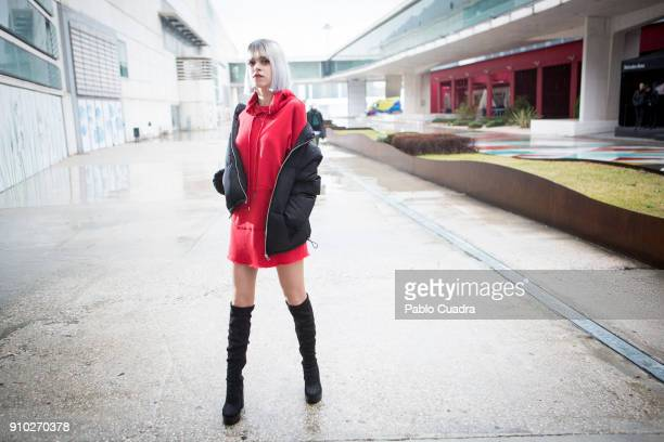 Angelica wears Mari Paz boots and HM dress and coat at Ifema during Mercedes Benz Fashion Week Madrid Autumn / Winter 2018 on January 25 2018 in...