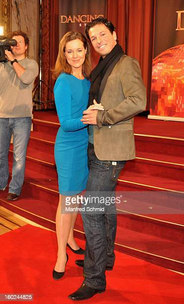 Angelika Ahrens and Thomas Kraml are presented as dance partners at a press conference during the eighth season of TV show 'ORF Dancing Stars 2013'...
