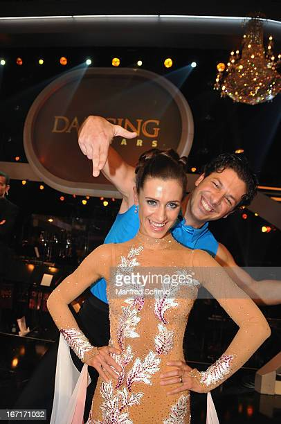 Angelika Ahrens and Thomas Kraml pose on stage after the TV Show 'Dancing Stars' at ORF Center on April 19 2013 in Vienna Austria