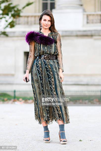 Angelika Ardasheva is seen outside the Barbara Bui show at Grand Palais during Paris Fashion Week Spring Summer 2017 on September 29 2016 in Paris...