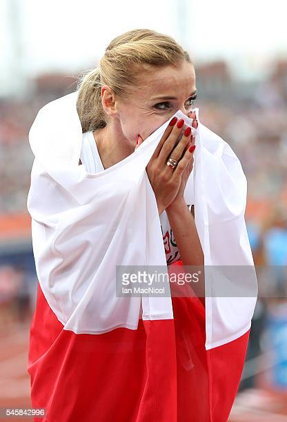 Angelika Cichocka of Poland celebrates after winning gold in the final of the womens 1500m on day five of The 23rd European Athletics Championships...