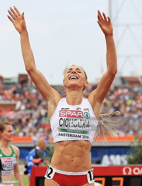 Angelika Cichocka of Poland celebrates winning the Womens 1500m Final during day five of the 23rd European Athletics Championships at Olympic Stadium...