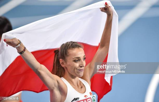 Angelika Cichocka of Poland poses for the pictures after the 800m during the second session on Day 3 of European Athletics Indoor Championships at...