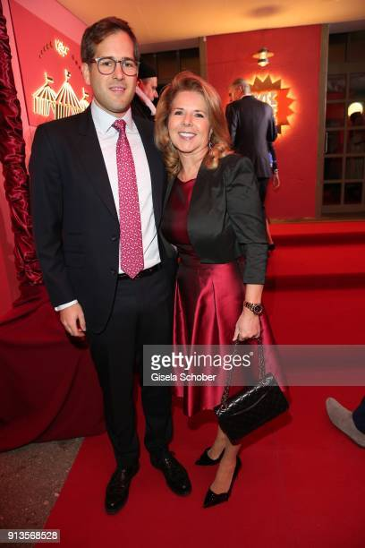 Angelika Groeger and her son Michael Groeger during Michael Kaefer's 60th birthday celebration at Postpalast on February 2 2018 in Munich Germany