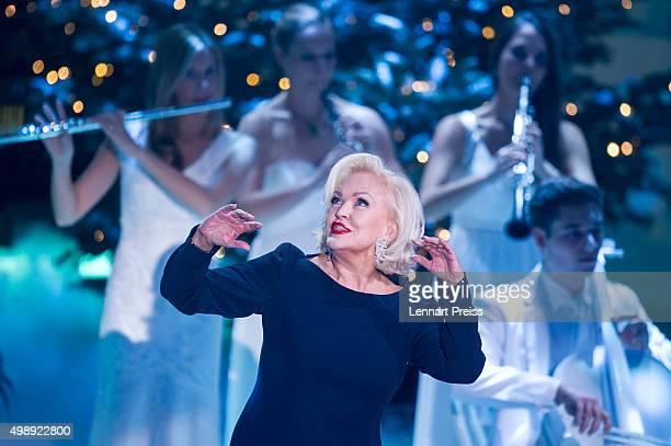 Angelika Milster performs during the 'Heiligabend mit Carmen Nebel' TV show at Bavaria Filmstudios on November 26 2015 in Munich Germany