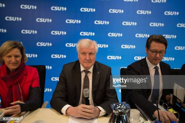 Angelika Niebler CSU leader and Bavarian governor Horst Seehofer General Secretary Andreas Scheuer The Christian Social Union held a board meeting...
