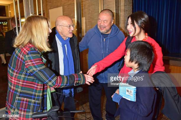 Angelika Schloendorff Volker Schloendorff Ai Weiwei Wang Fen and Ai Lao during the 'Human Flow' premiere at Kino International on November 7 2017 in...