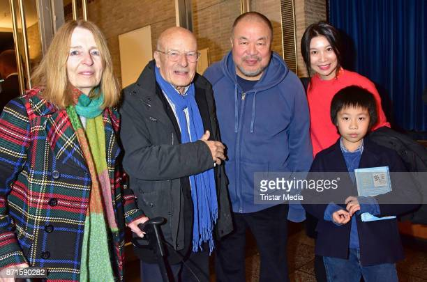 Angelika Schloendorff Volker Schloendorff Ai Weiwei Wang Fen and Ai Lao during the 'Human Flow' premiere at Kino International on November 7 2017 in...