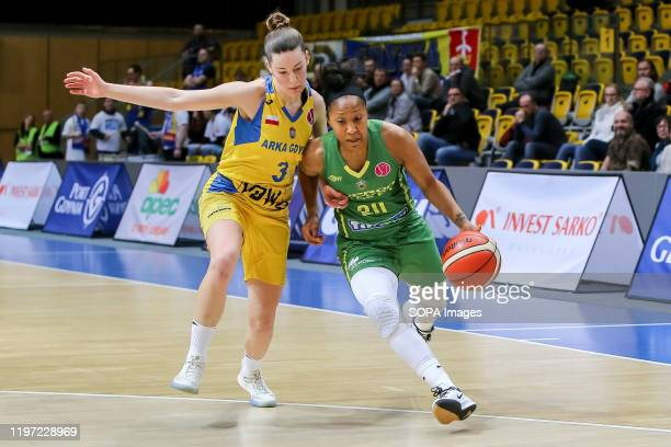 Angelika Slamova and Briann Jolie January are seen in action during EuroLeague Women group B match between Asseco Arka Gdynia and Sopron Basket in...