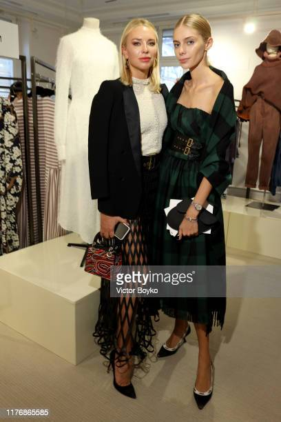 Angelika Timanina and Yasmina Muratovich attend the ModeMoscow showroom and cocktail event as part of Paris Fashion Week on September 24 2019 in...