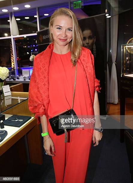 Angelika Timanina attends Haute Time Russia Hosts Jacob Co And ECJ Holiday Party at Sunny Isles Beach Gallery on January 3 2014 in North Miami Beach...