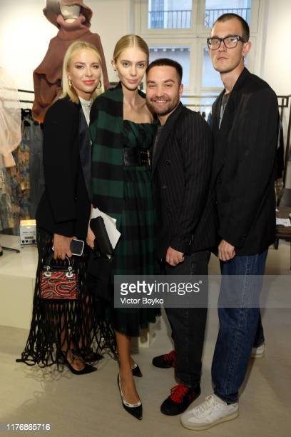 Angelika Timanina Yasmina Muratovich Daniil Antsiferov and a guest attend the ModeMoscow showroom and cocktail event as part of Paris Fashion Week on...