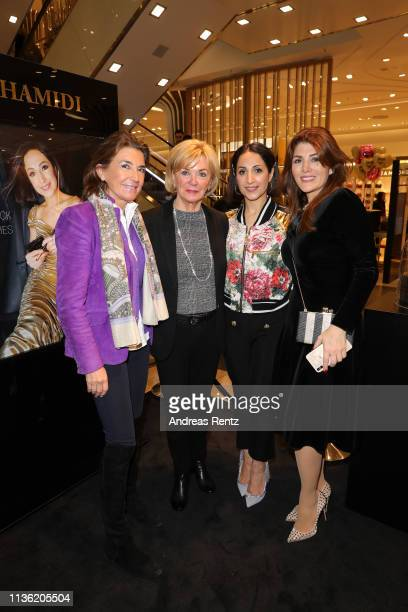 Angelika Vogel Liz Mohn Laila Hamidi and Sedef Ayguen attend the 'Easy to pack brushes' launch by Laila Hamidi at Breuninger on March 16 2019 in...