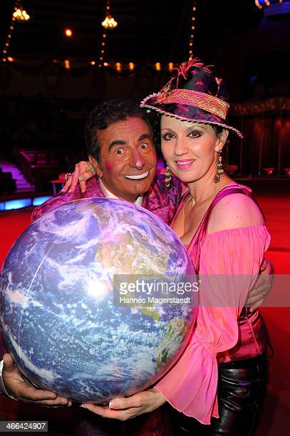 Angelika Zwerenz and clown Francesco attend the Circus Krone Show Premiere at Circus Krone on February 1 2014 in Munich Germany