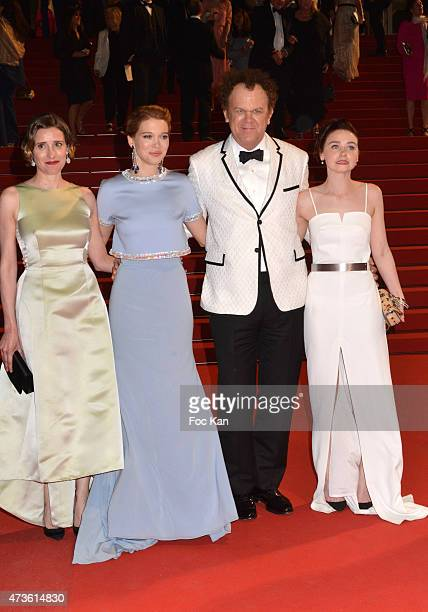 Angeliki Papoulia Lea Seydoux John C Reilly and Jessica Barden leave the 'Lobster' Premiere during the 68th annual Cannes Film Festival on May 15...