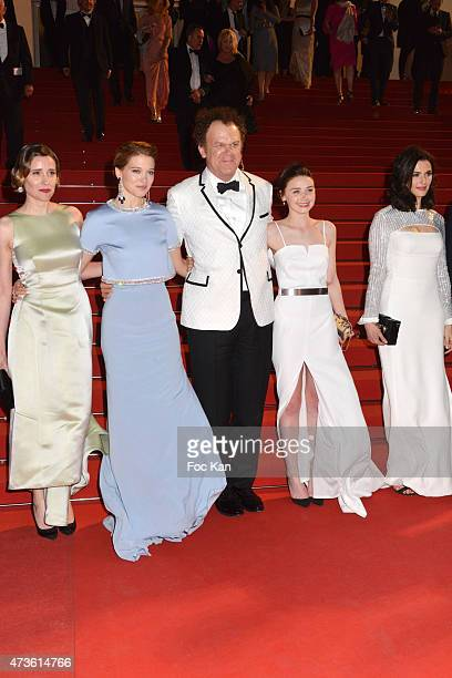 Angeliki Papoulia Lea Seydoux John C Reilly Jessica Barden and Rachel Weisz leave the 'Lobster' Premiere during the 68th annual Cannes Film Festival...