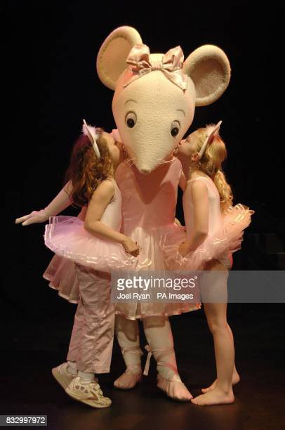 Angelina Ballerina with fans Anais Gallagher 9 and Simone Norowzian ahead of a children's afternoon tea party to mark the unveiling of plans for...