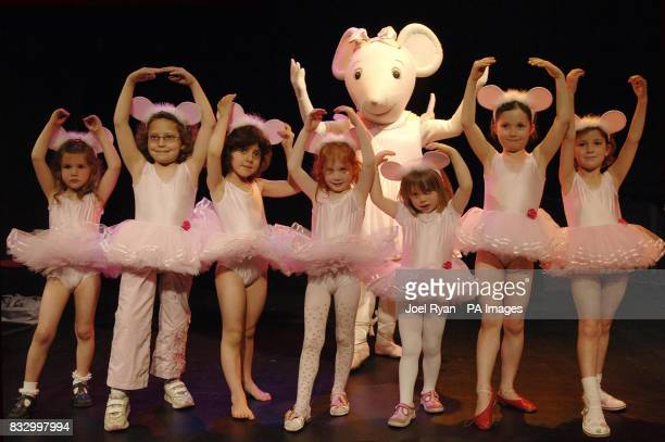 Angelina Ballerina with some small fans ahead of a children's afternoon tea party to mark the unveiling of plans for Angelina's Star Performance the...